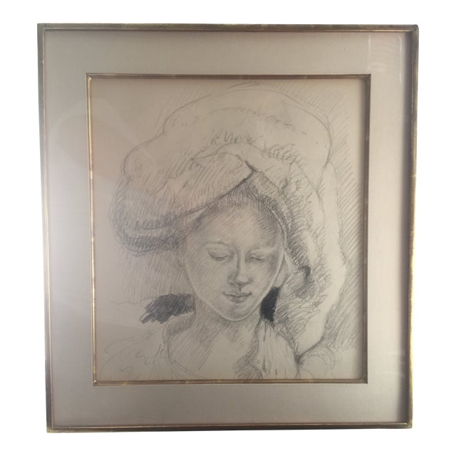 Woman in a Turban Pencil Illustration For Sale
