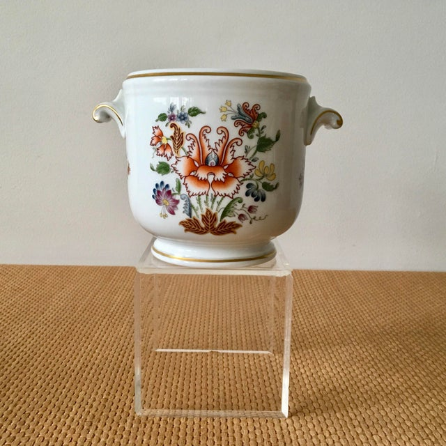 1980s Hollywood Regency Richard Ginori Ischia Pattern Floral Cachepot For Sale - Image 11 of 11