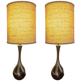Cool Pair of Tall Laurel Lamp Company Mid Century Modern Walnut & Metal Lamps For Sale