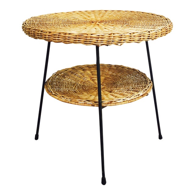 Mid Century Round Wicker Side Table on Metal Base - Image 1 of 10