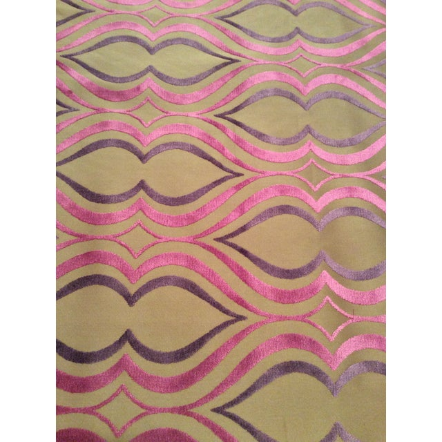 Designers Guild Tan, Pink & Purple Cut Velvet Fabric- 4 Yards - Image 2 of 5