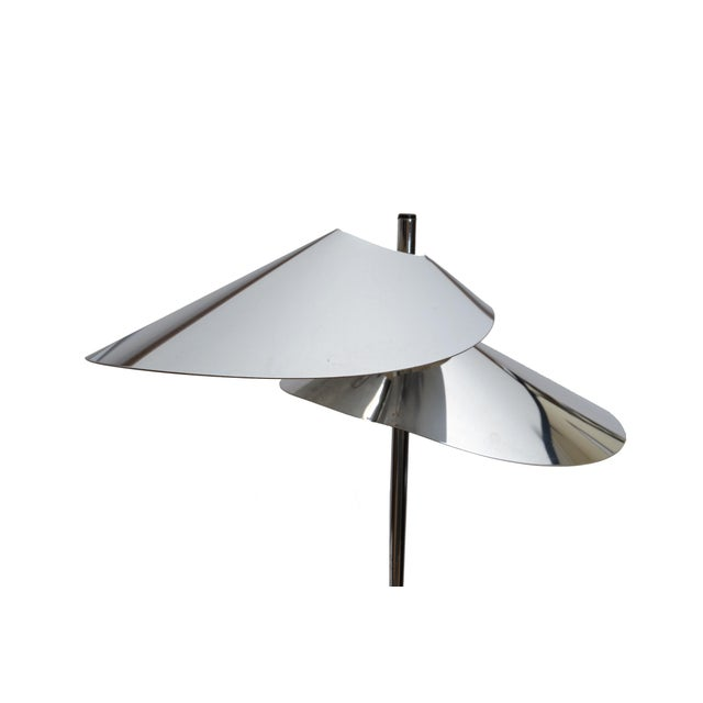 Artisan House Curtis Jere Double Sided 'Visor' Table Lamps in Chrome, A Pair For Sale - Image 4 of 10