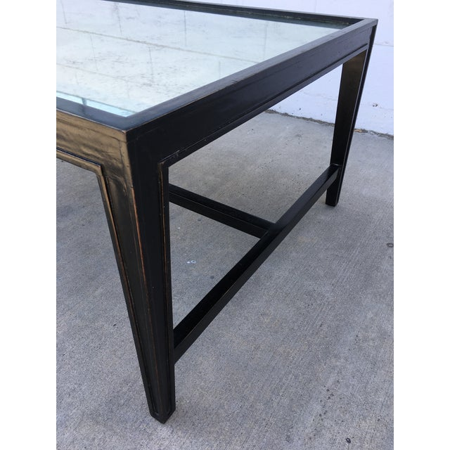 Early 21st Century Antique Mirror Top Coffee Table With Ebonized Black Walnut Frame For Sale - Image 5 of 13