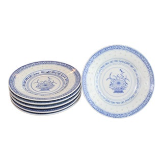 1990s Asian Riceware Blue Dishes - Set of 6 For Sale