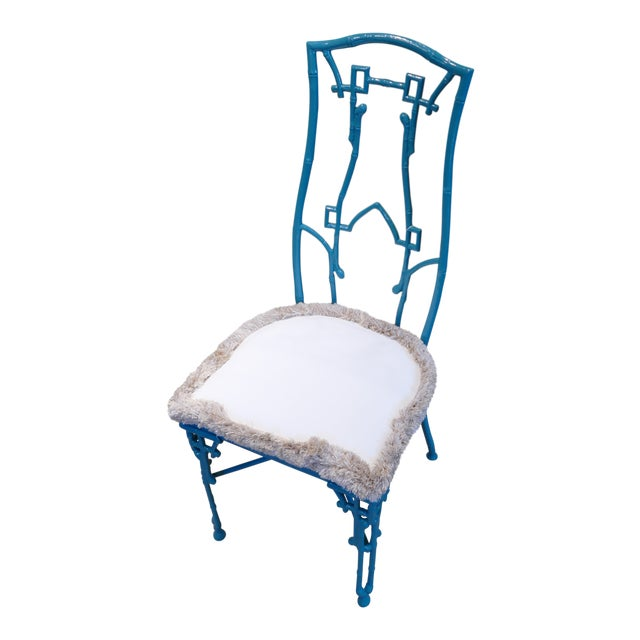 Modern Teal Wrought Iron Outdoor Chair For Sale