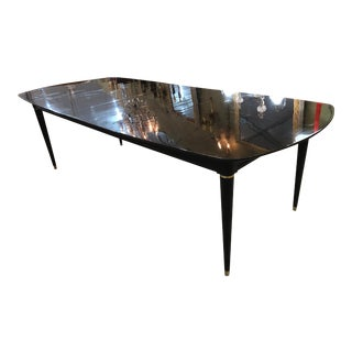 Mid-Century French Louis XVI Style Ebonized Dining Table For Sale