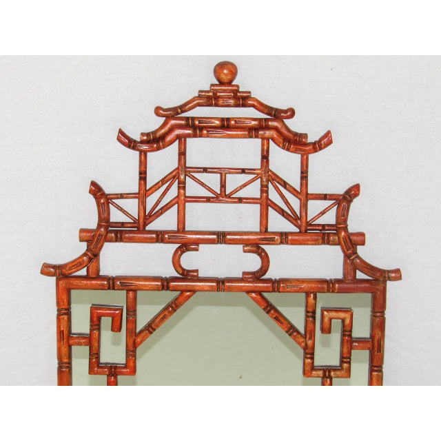 Chinoiserie Antique Chinoiserie Faux Bamboo Painted Mirror For Sale - Image 3 of 8