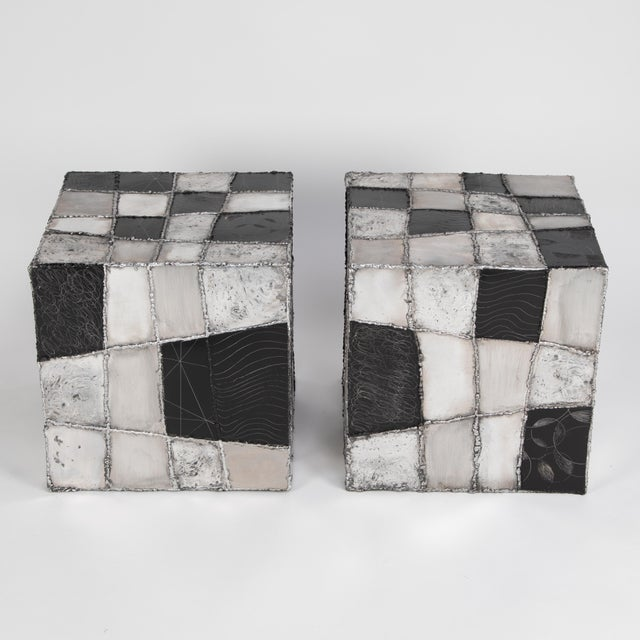 "Brutalist Rare Pair of Paul Evans ""Argente"" Side Tables, Circa 1960s For Sale - Image 3 of 13"