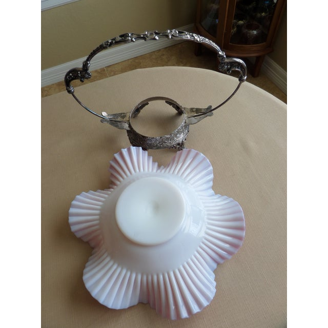 Victorian Quadrupled Silver Plated Bridal Basket & Ruffled Bowl - A Pair - Image 10 of 11