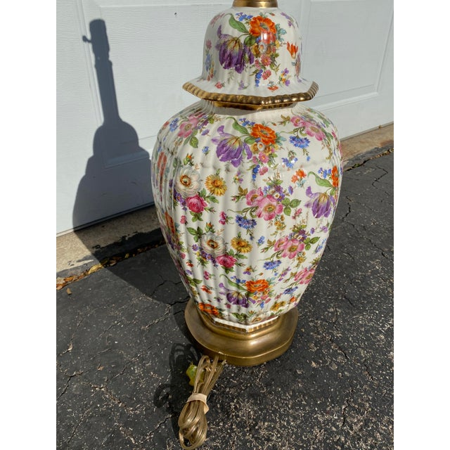 Vintage Floral Chintz Ceramic Lamp For Sale - Image 4 of 6