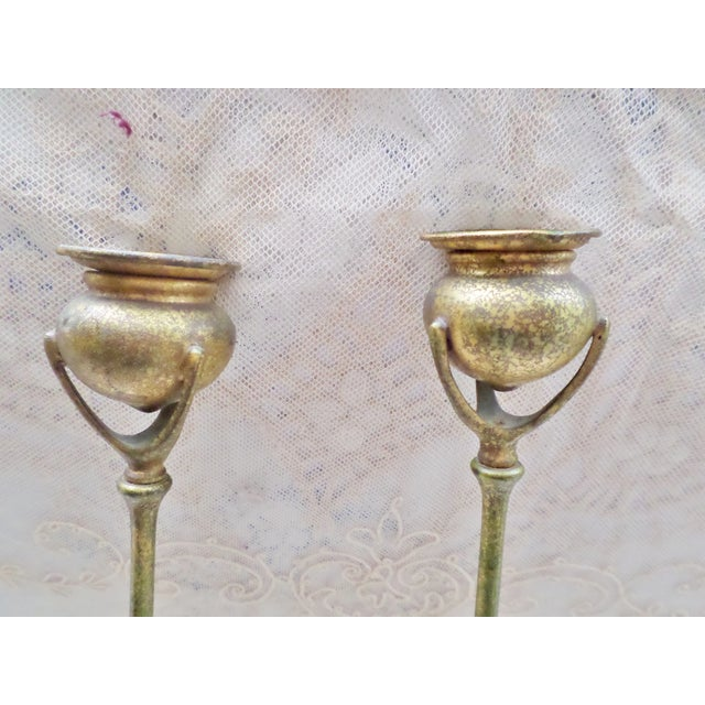 Gold Antique Tiffany Studios Bronze Candlesticks With Gold Gilt - a Pair For Sale - Image 8 of 13