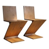 Image of Vintage Gerrit Rietveld Style Zig Zag Chairs - a Pair For Sale