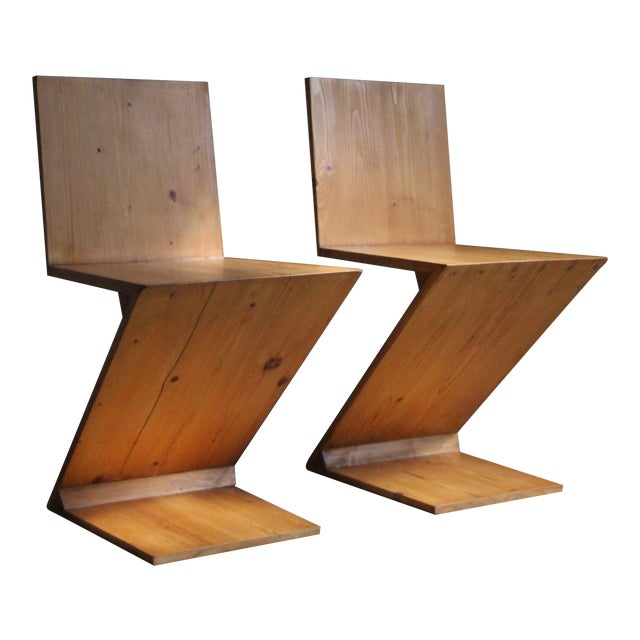 Vintage Gerrit Rietveld Style Zig Zag Chairs - a Pair For Sale