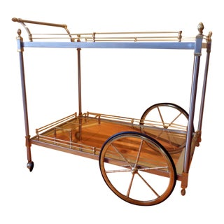 Vintage Brass and Brushed Nickel/Stainless Steel Bar Serving Cart Trolley For Sale