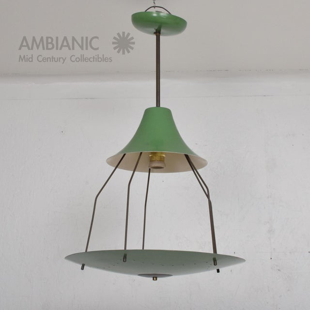 AMBIANIC offers for your consideration: Vintage Green Italian Tiered Chandelier 1950s Mid-century Modern Italy, manner of...