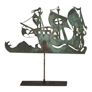 19th Century New England Sheet Copper Spanish Galleon Weather Vane