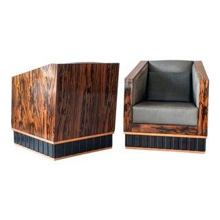Macassar Ebony Wrapped Deco Club Chairs, 1950's For Sale
