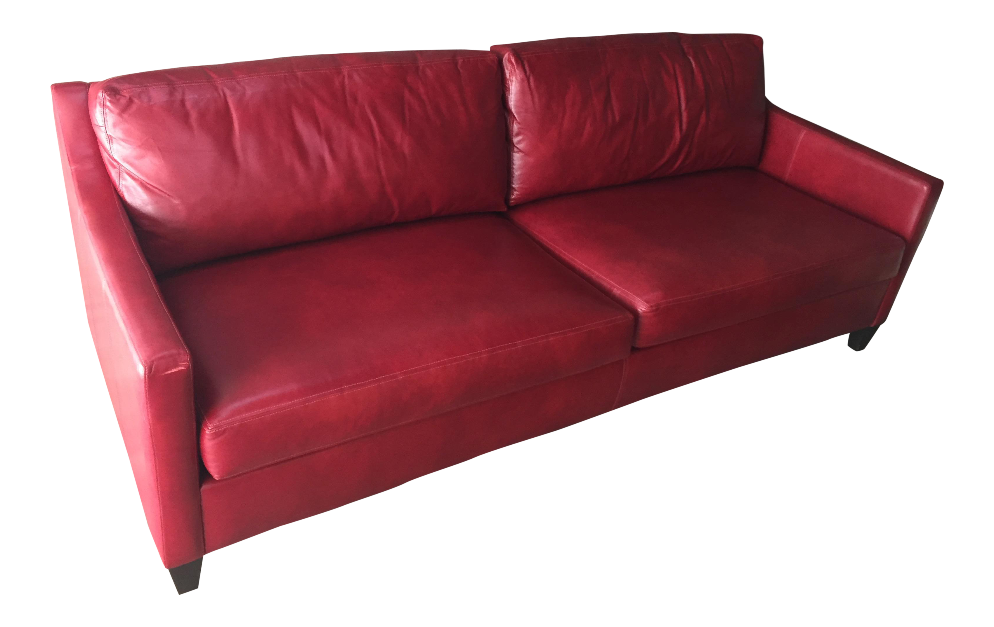 Ethan Allen Red Leather Sofa