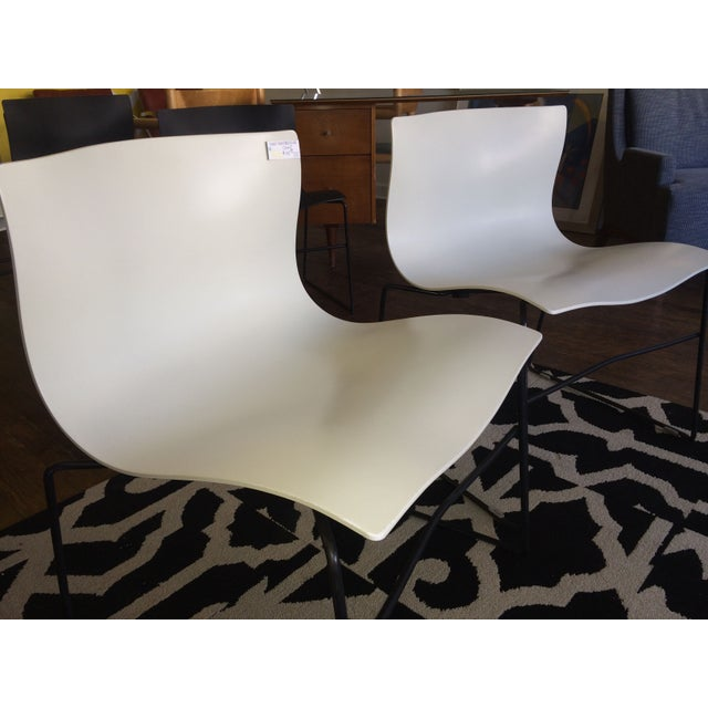 Knoll Vignelli Handkerchief White Chairs- Set of 4 - Image 4 of 6