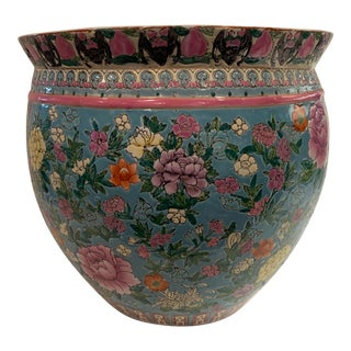1980s Vintage Floral Chinese Planter For Sale