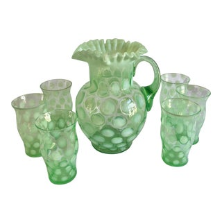 "Early 1900s ""Coin Spot"" Water Pitcher & Tumbler Set in Green Opalescent by Fenton - 7-Piece Set For Sale"