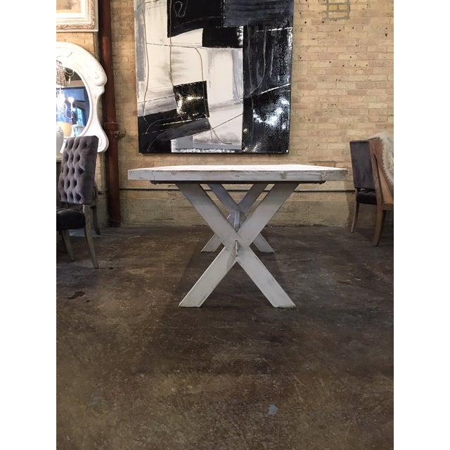 Shabby Chic White Distressed Farmhouse Dining Table For Sale - Image 4 of 10