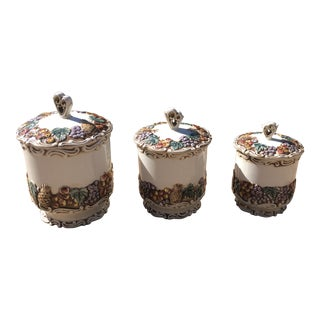 1950's Vintage Geo Z Lefton, Della Robbia China Fruit Basket Canisters - Set of 3 For Sale