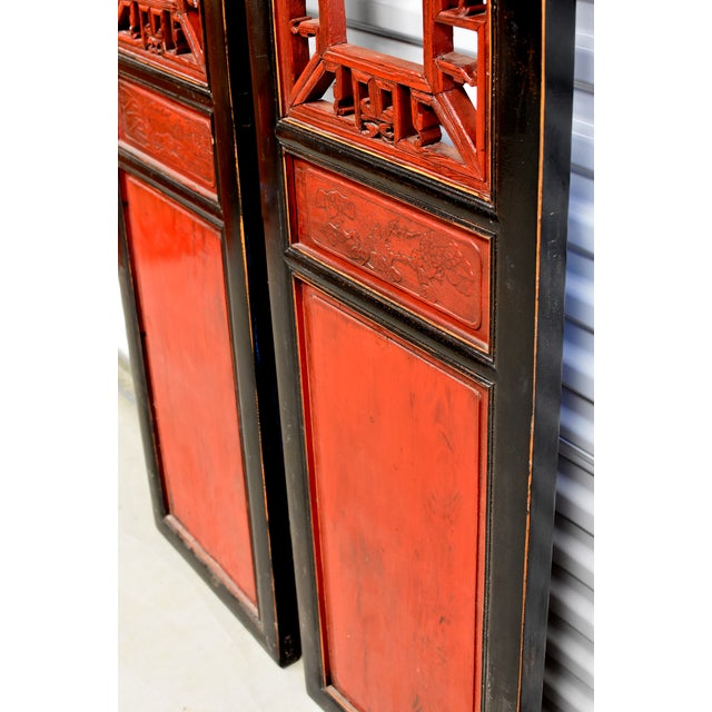 Antique Chinese Red and Black Screens - a Pair For Sale - Image 4 of 13