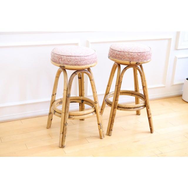 Product Bamboo Stools ~ Vintage boho chic rattan bamboo swivel bar stools set of