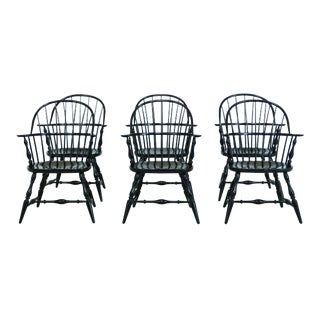 Frederick Duckloe Black Windsor Dining Room Chairs - Set of 6 For Sale