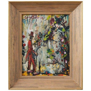 Vintage Mid Century Figurative Painting by Pascal Cucaro For Sale