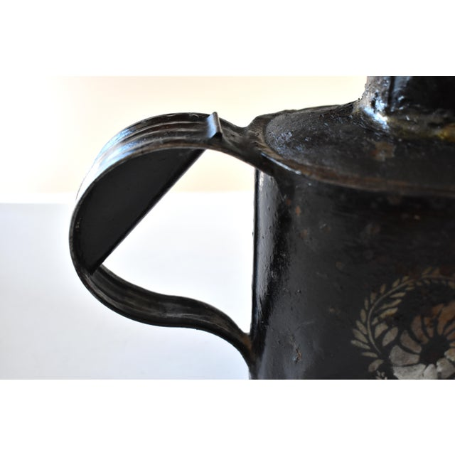 Metal Antique 1830s Americana Painted Gold and Silver Tole Watering Pot For Sale - Image 7 of 12