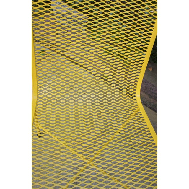 Mid Century Modern Buttercup Yellow Wrought Iron Patio Dining Set- 6 Pieces For Sale - Image 11 of 13