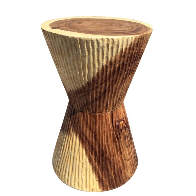 Asian Modern Chiseled Hourglass-Shaped Stool For Sale