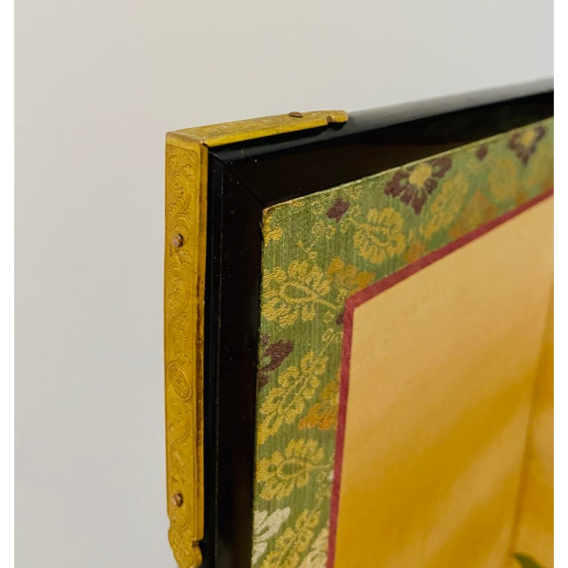 19th Century Japanese Byobu 6-Panel Table Screen With Summer Flowers For Sale - Image 9 of 13