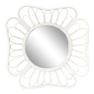 1970s White Round Rattan Mirror in the Style of Franco Albini For Sale