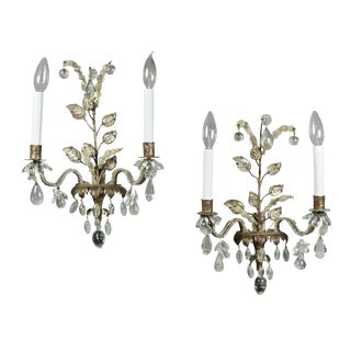 French Gilt Metal and Crystal Sconces by Bagues - a Pair For Sale