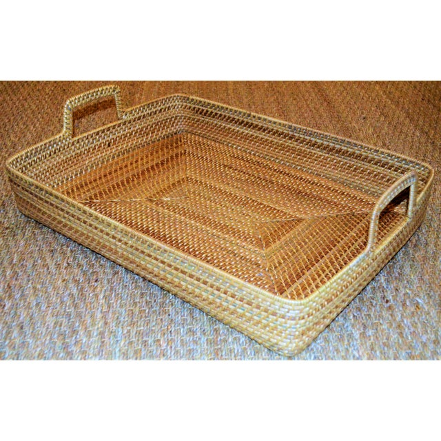 Cottage Style Rattan Woven Large Handled Tray - Image 5 of 9