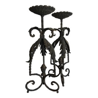 Vintage Iron Leaf Candle Holders Candlesticks - a Pair