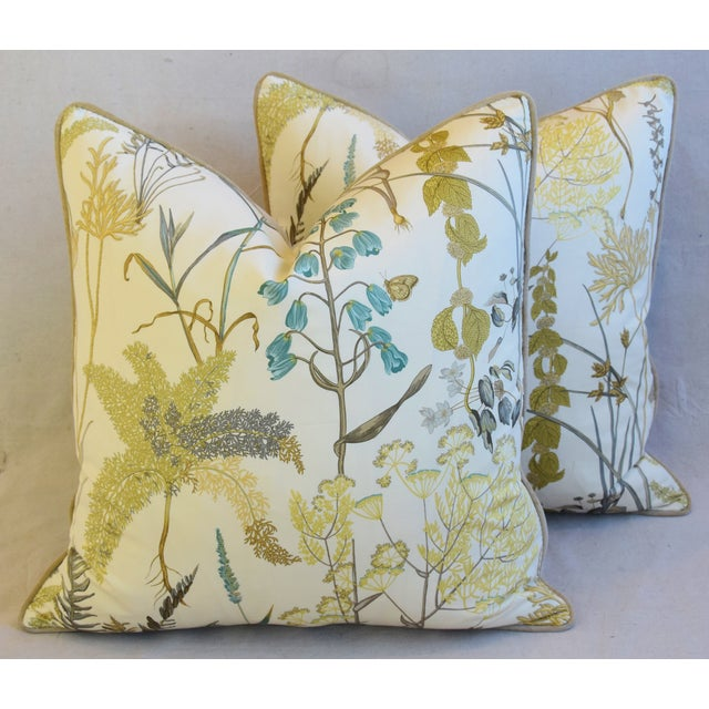 "Botanical Wildflower Floral Feather/Down Pillows 23"" Square - Pair For Sale - Image 12 of 13"