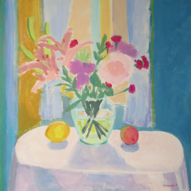Canvas Flowers, Lemon and Peach by Anne Carrozza Remick For Sale - Image 7 of 7