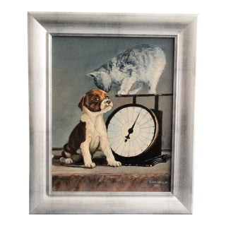 'Weighing In' Kitten & Puppy Oil Painting
