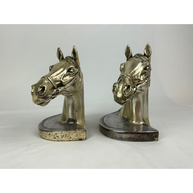 Metal Silver Horse Head Bookends - a Pair For Sale - Image 7 of 13