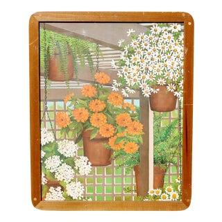 """1970's Dorothy Saar """"Bloomin' Plants"""" Print in Pop Peg Wood Frame For Sale"""