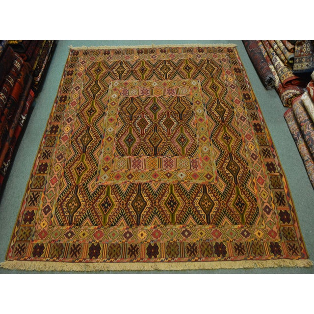 """Textile Vintage Handmade Nakhunak Kilim Rug - 4'5"""" x 5'7"""" For Sale - Image 7 of 7"""