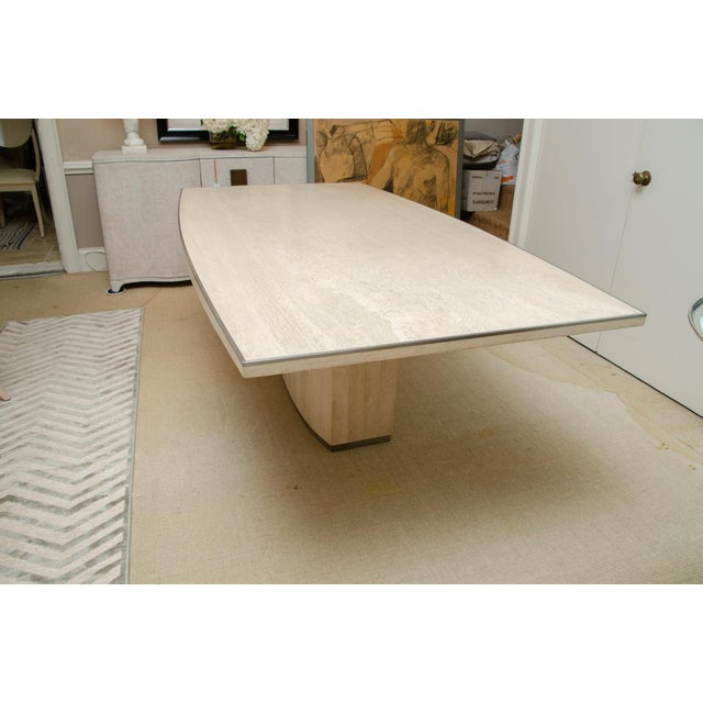 1970s Willy Rizzo Signed Travertine Dining Table For Sale - Image 5 of 7