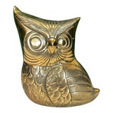 Image of Mid Century Brass Owl Figure For Sale