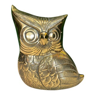 Mid Century Brass Owl Figure For Sale