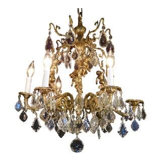 Antique French Brass Bronze Dancing Cherubs Carousel Cut Lead Crystal Chandelier