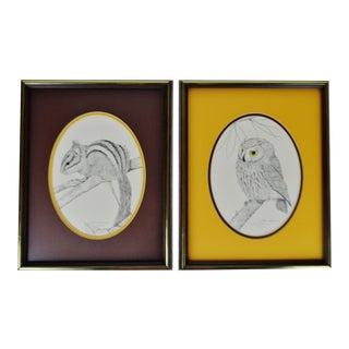 Vintage Framed Steve Leonardi Limited Edition Wildlife Lithographs - a Pair For Sale